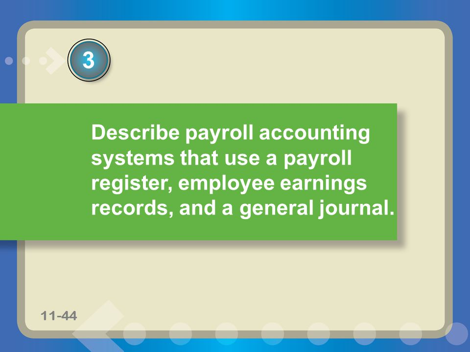 11-44 Describe payroll accounting systems that use a payroll register, employee earnings records, and a general journal. 3 11-44