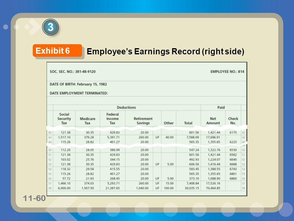 11-60 3 Employees Earnings Record (right side) Exhibit 6