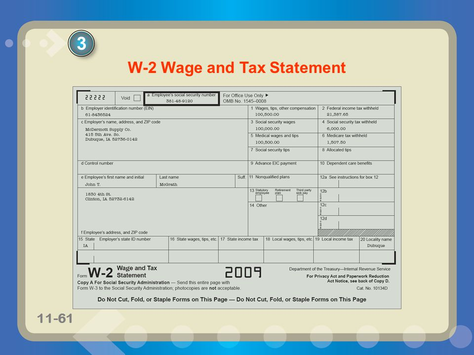 11-61 3 W-2 Wage and Tax Statement