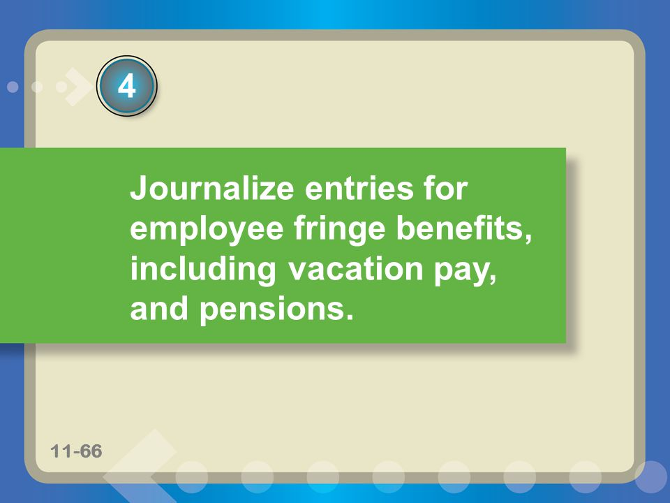 11-66 Journalize entries for employee fringe benefits, including vacation pay, and pensions. 4 11-66