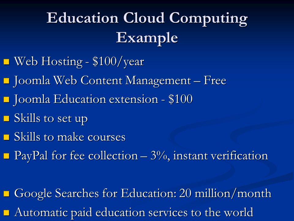 Education Cloud Computing Example Web Hosting - $100/year Web Hosting - $100/year Joomla Web Content Management – Free Joomla Web Content Management –