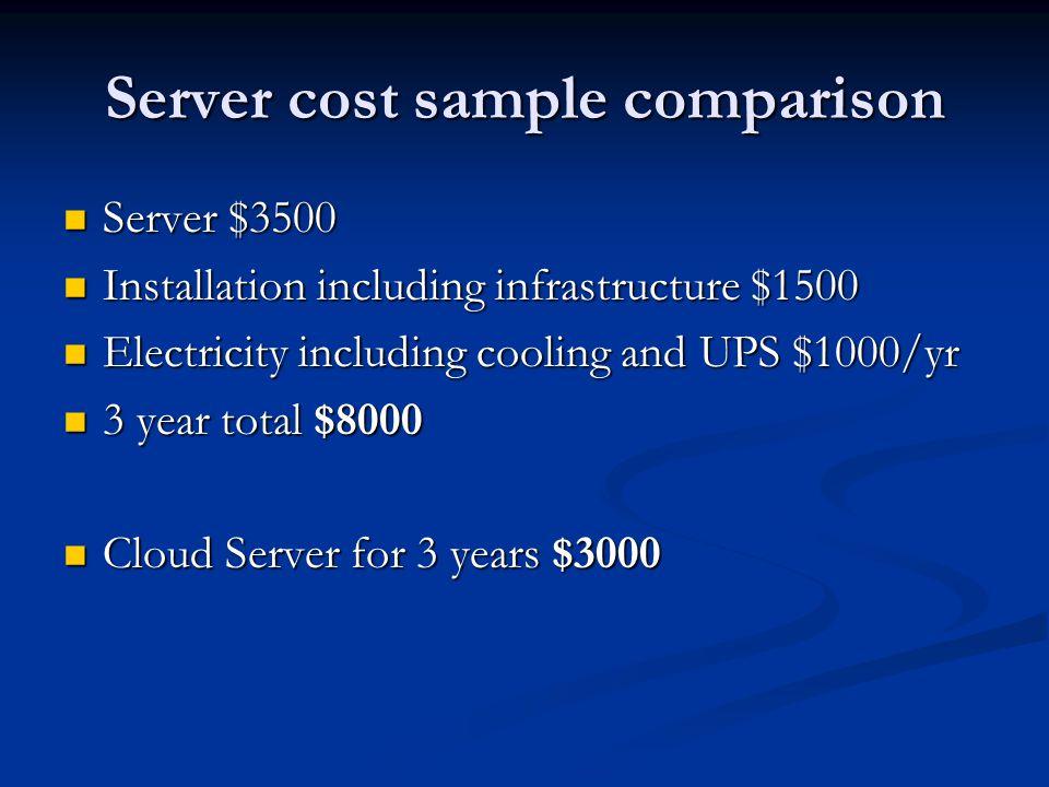 Server cost sample comparison Server $3500 Server $3500 Installation including infrastructure $1500 Installation including infrastructure $1500 Electricity including cooling and UPS $1000/yr Electricity including cooling and UPS $1000/yr 3 year total $8000 3 year total $8000 Cloud Server for 3 years $3000 Cloud Server for 3 years $3000