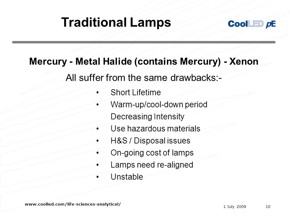 1 July 2009 www.coolled.com/life-sciences-analytical/ 10 Mercury - Metal Halide (contains Mercury) - Xenon All suffer from the same drawbacks:- Short Lifetime Warm-up/cool-down period Decreasing Intensity Use hazardous materials H&S / Disposal issues On-going cost of lamps Lamps need re-aligned Unstable Traditional Lamps