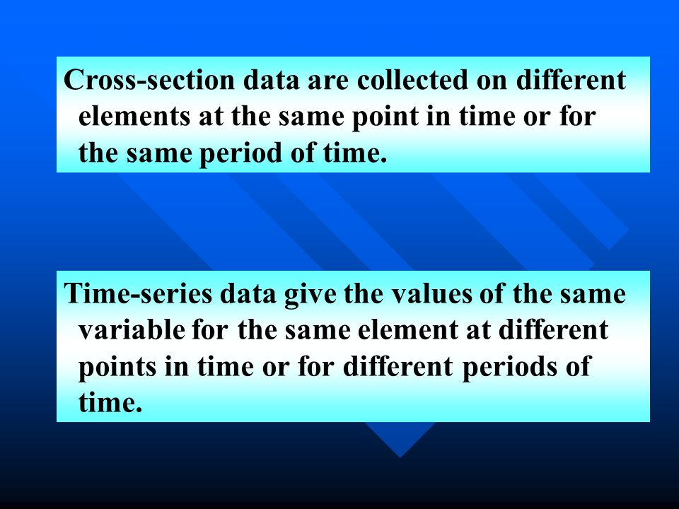 Cross-section data are collected on different elements at the same point in time or for the same period of time.