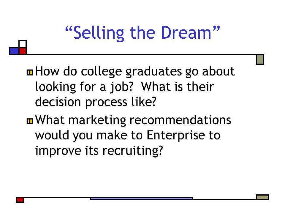 Selling the Dream How do college graduates go about looking for a job.