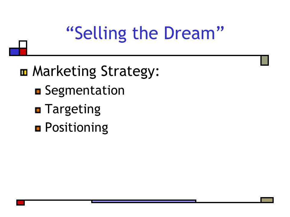 Selling the Dream Marketing Strategy: Segmentation Targeting Positioning