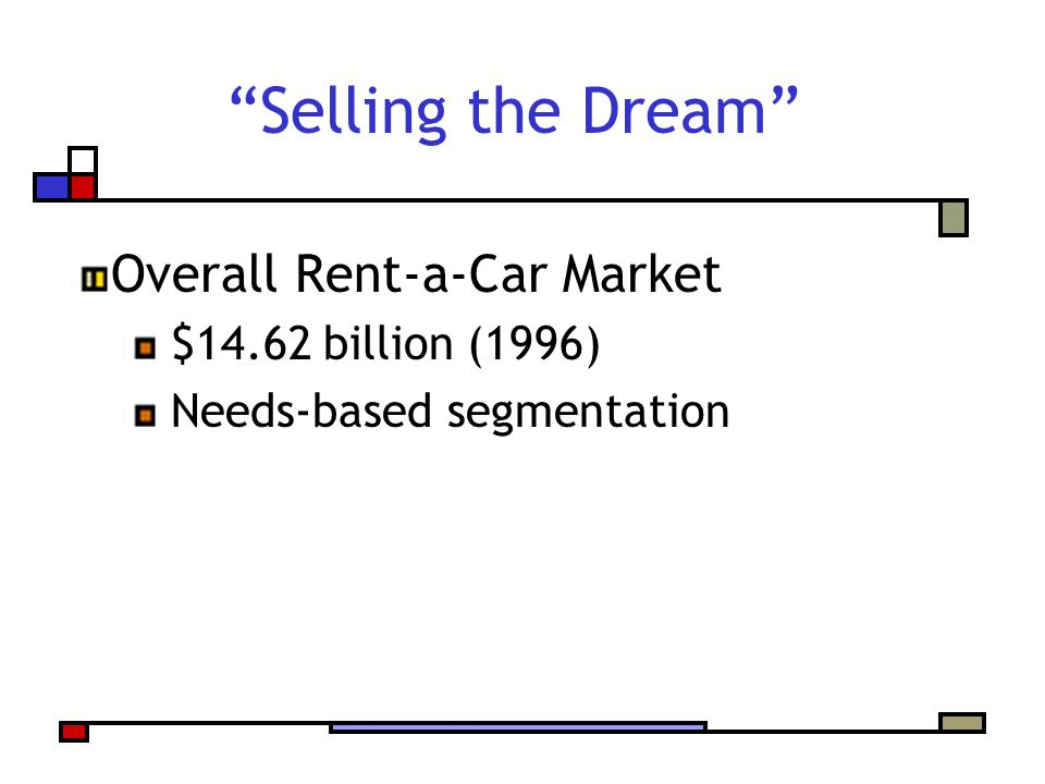 Selling the Dream Overall Rent-a-Car Market $14.62 billion (1996) Needs-based segmentation