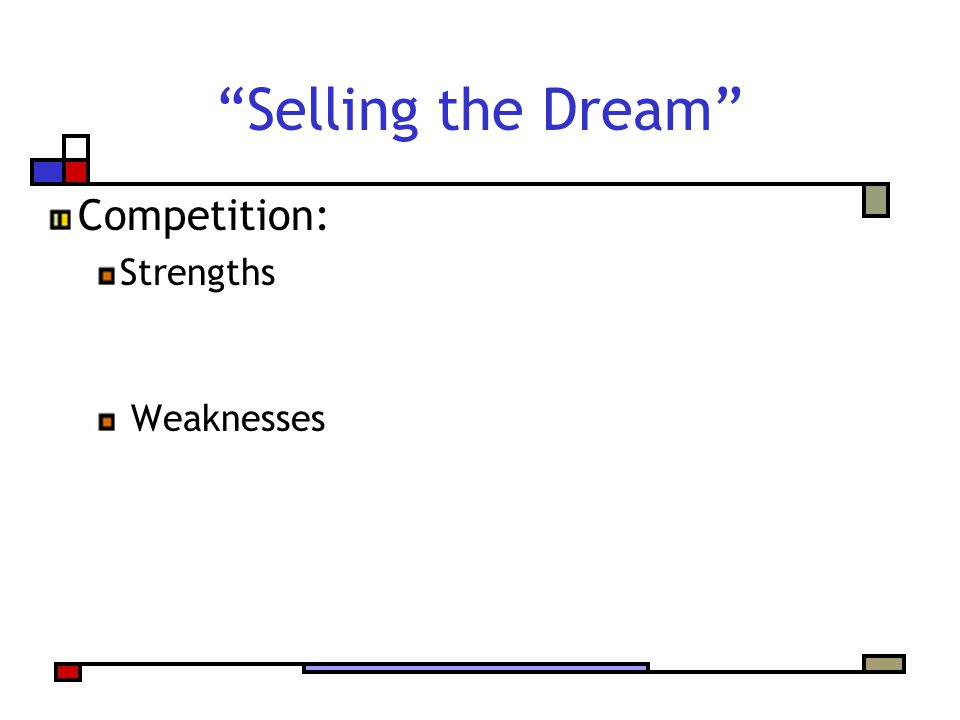 Selling the Dream Competition: Strengths Weaknesses