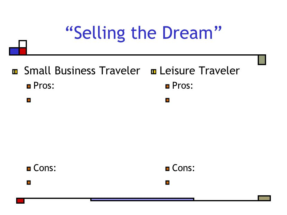 Selling the Dream Small Business Traveler Pros: Cons: Leisure Traveler Pros: Cons: