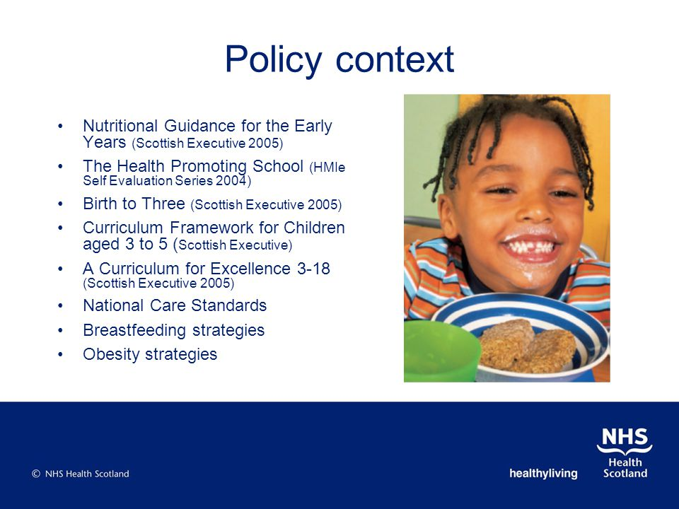Policy context Nutritional Guidance for the Early Years (Scottish Executive 2005) The Health Promoting School (HMIe Self Evaluation Series 2004) Birth