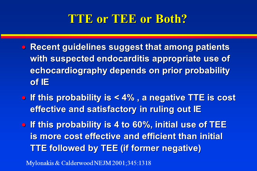 TTE or TEE or Both? Recent guidelines suggest that among patients with suspected endocarditis appropriate use of echocardiography depends on prior pro
