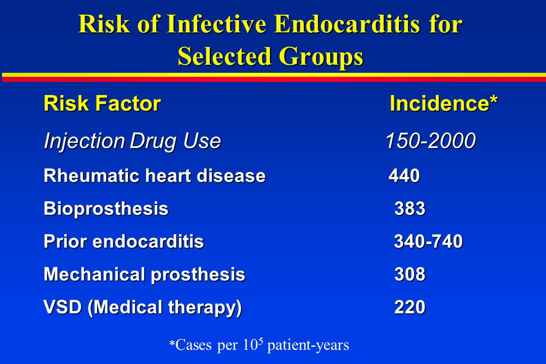 Duke Criteria for Diagnosis of Infective Endocarditis Definite endocarditis: Pathologic criteria Organisms by culture or histology in vegetation, embolus, or cardiac abscess or Organisms by culture or histology in vegetation, embolus, or cardiac abscess or Pathologic lesion such as vegetation or cardiac abscess Pathologic lesion such as vegetation or cardiac abscess Clinical criteria 2 major, or 1 major plus 3 minor, or 5 minor criteria 2 major, or 1 major plus 3 minor, or 5 minor criteria