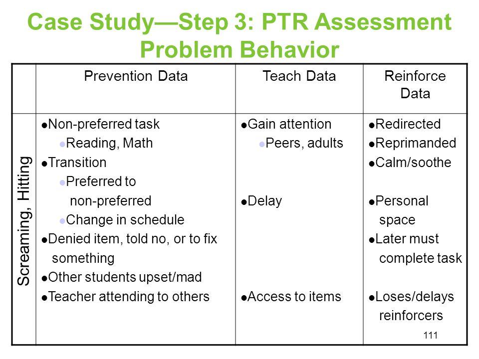 Case StudyStep 3: PTR Assessment Problem Behavior Prevention DataTeach DataReinforce Data Non-preferred task Reading, Math Transition Preferred to non