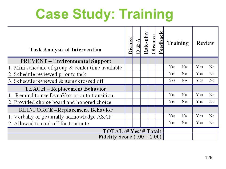 Case Study: Training 129
