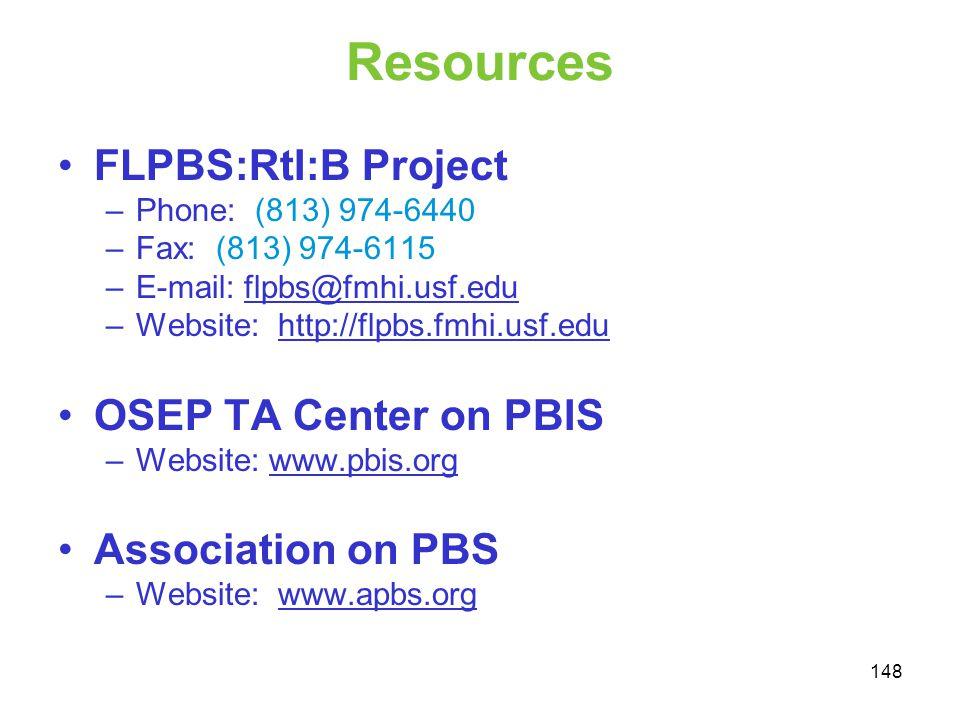 Resources FLPBS:RtI:B Project –Phone: (813) 974-6440 –Fax: (813) 974-6115 –E-mail: flpbs@fmhi.usf.eduflpbs@fmhi.usf.edu –Website: http://flpbs.fmhi.us
