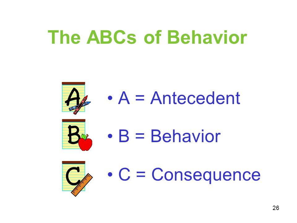 The ABCs of Behavior A = Antecedent B = Behavior C = Consequence 26