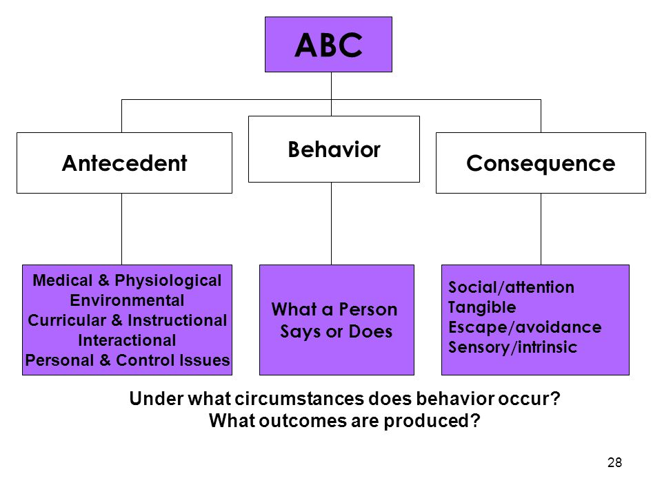 ABC Behavior AntecedentConsequence Medical & Physiological Environmental Curricular & Instructional Interactional Personal & Control Issues What a Per