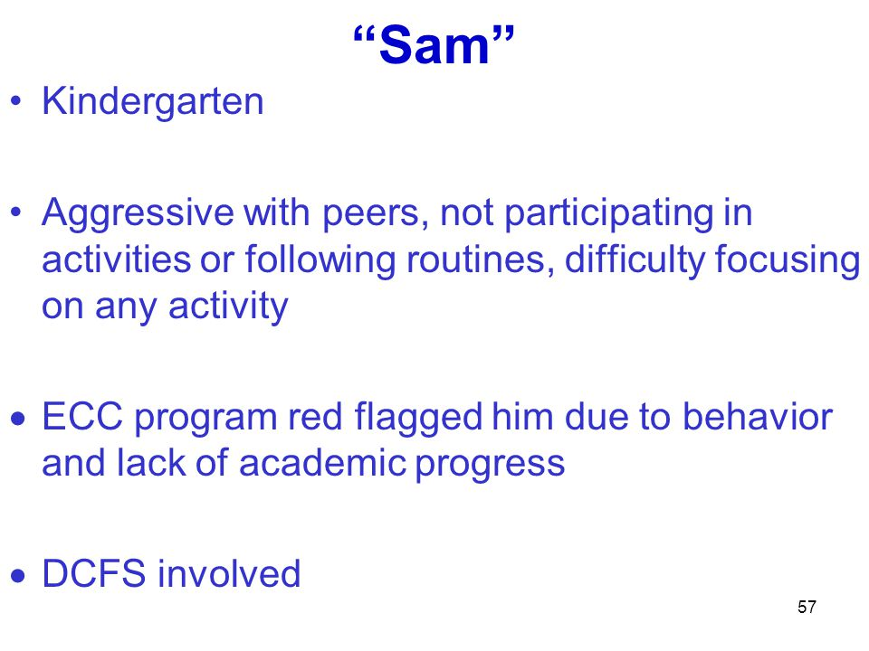 Sam Kindergarten Aggressive with peers, not participating in activities or following routines, difficulty focusing on any activity ECC program red fla