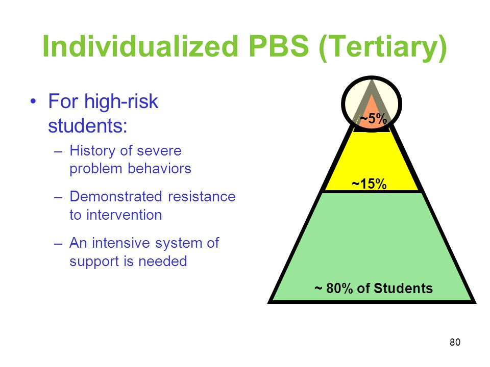 Individualized PBS (Tertiary) For high-risk students: –History of severe problem behaviors –Demonstrated resistance to intervention –An intensive syst