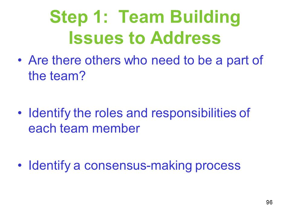Step 1: Team Building Issues to Address Are there others who need to be a part of the team? Identify the roles and responsibilities of each team membe
