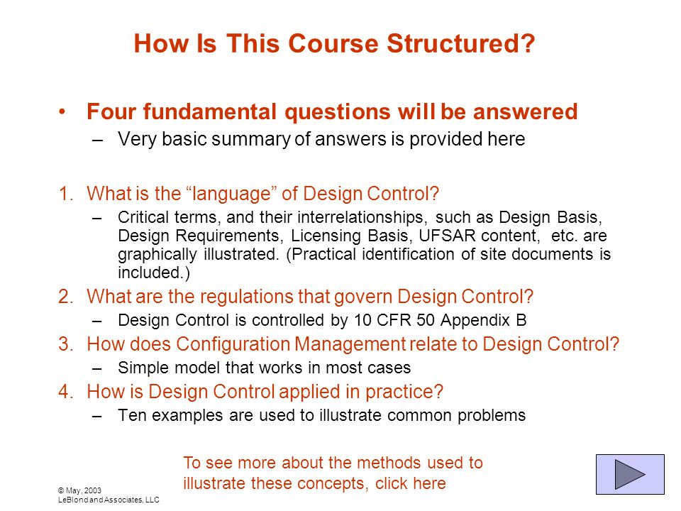 © May, 2003 LeBlond and Associates, LLC How Is This Course Structured.