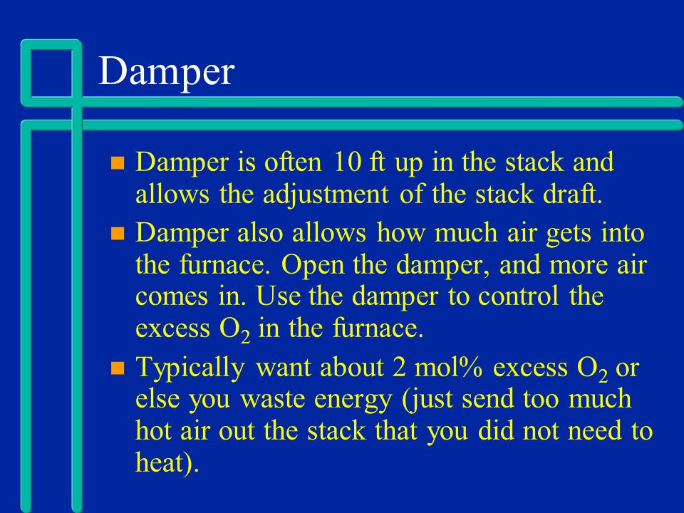 Damper Damper is often 10 ft up in the stack and allows the adjustment of the stack draft. Damper also allows how much air gets into the furnace. Open
