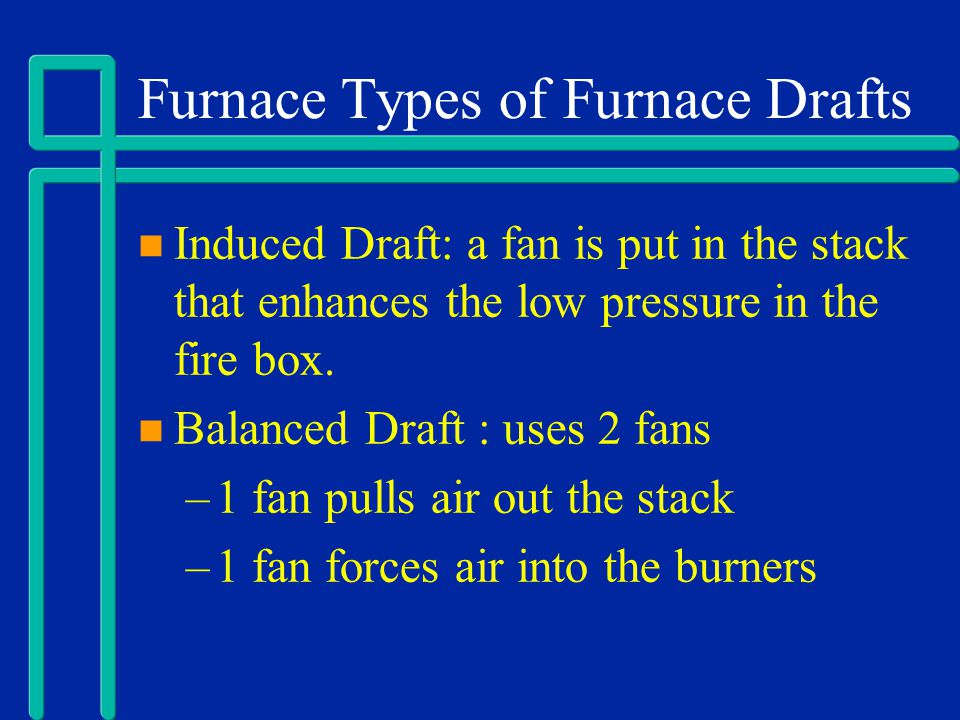 Furnace Types of Furnace Drafts Induced Draft: a fan is put in the stack that enhances the low pressure in the fire box. Balanced Draft : uses 2 fans
