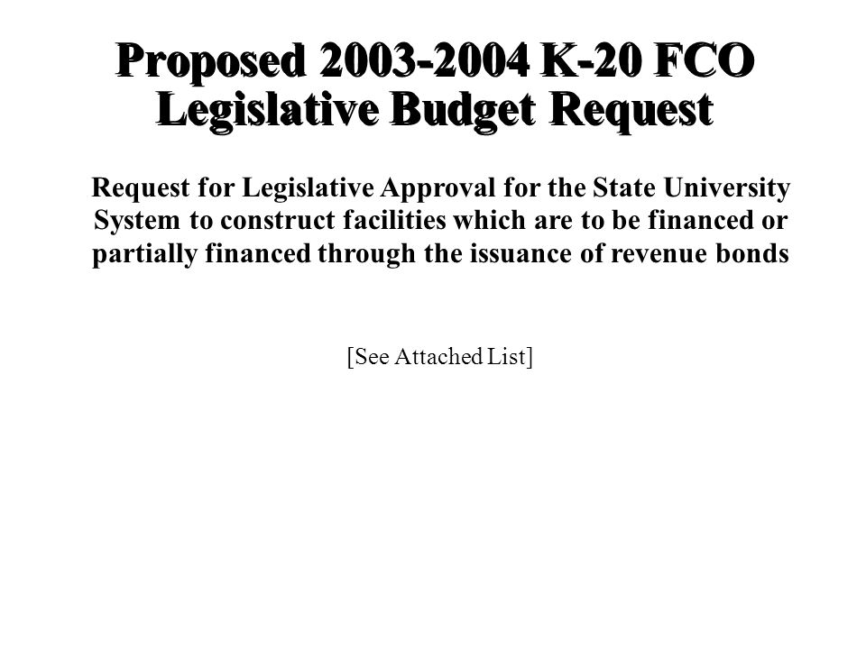 Proposed K-20 FCO Legislative Budget Request Request for Legislative Approval for the State University System to construct facilities which are to be financed or partially financed through the issuance of revenue bonds [See Attached List]