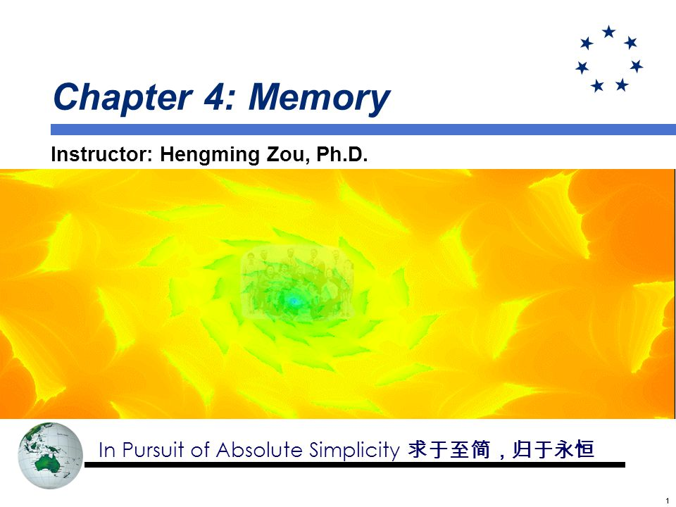 11 Chapter 4: Memory Instructor: Hengming Zou, Ph.D. In Pursuit of Absolute Simplicity