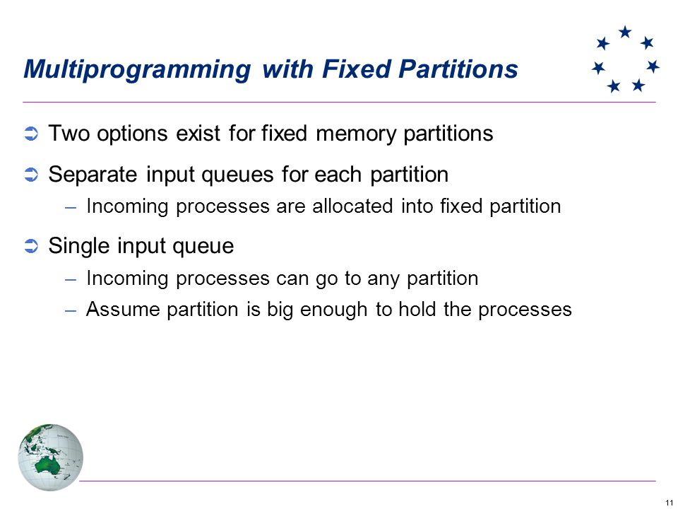 11 Multiprogramming with Fixed Partitions Two options exist for fixed memory partitions Separate input queues for each partition –Incoming processes are allocated into fixed partition Single input queue –Incoming processes can go to any partition –Assume partition is big enough to hold the processes