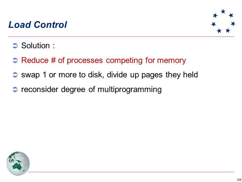 129 Load Control Solution : Reduce # of processes competing for memory swap 1 or more to disk, divide up pages they held reconsider degree of multiprogramming