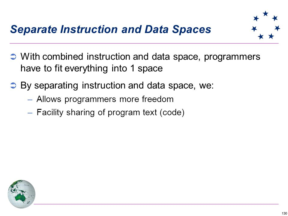 130 Separate Instruction and Data Spaces With combined instruction and data space, programmers have to fit everything into 1 space By separating instruction and data space, we: –Allows programmers more freedom –Facility sharing of program text (code)