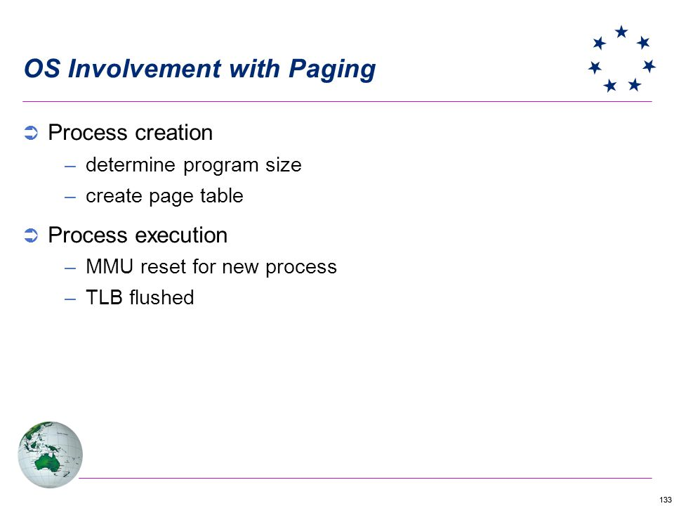 133 OS Involvement with Paging Process creation –determine program size –create page table Process execution –MMU reset for new process –TLB flushed