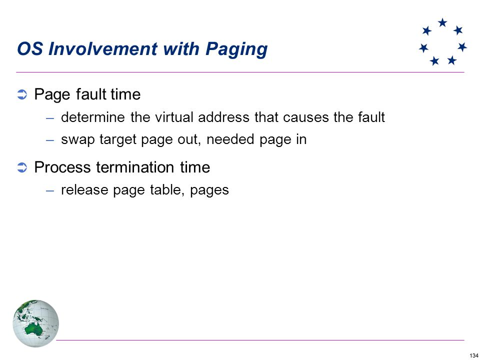 134 OS Involvement with Paging Page fault time –determine the virtual address that causes the fault –swap target page out, needed page in Process termination time –release page table, pages