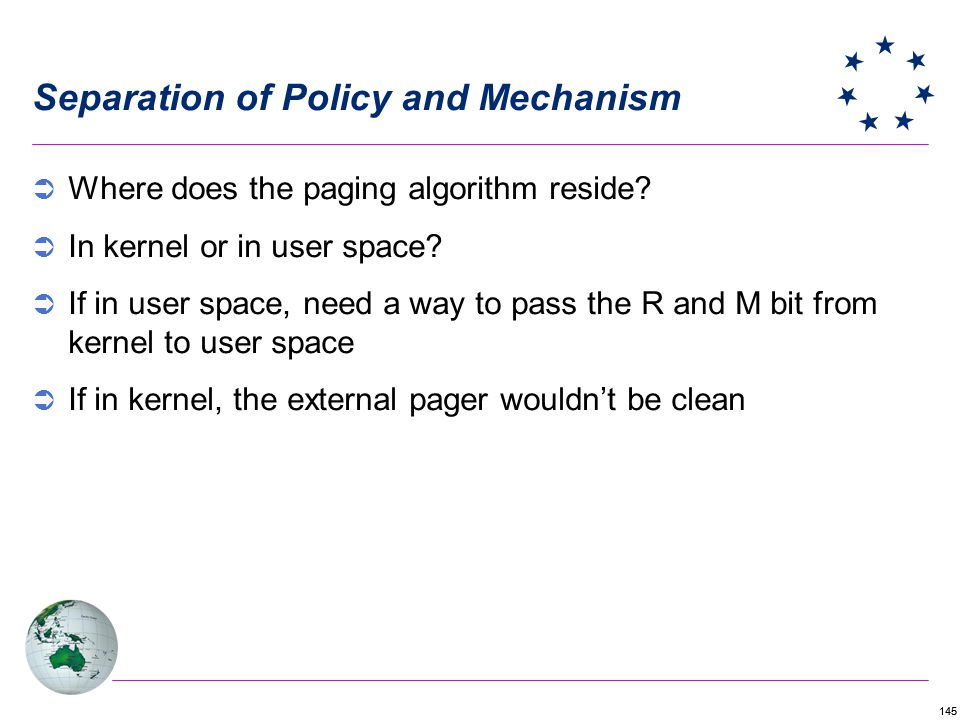 145 Separation of Policy and Mechanism Where does the paging algorithm reside.