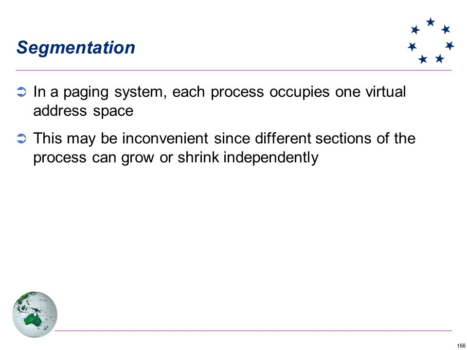 156 Segmentation In a paging system, each process occupies one virtual address space This may be inconvenient since different sections of the process can grow or shrink independently