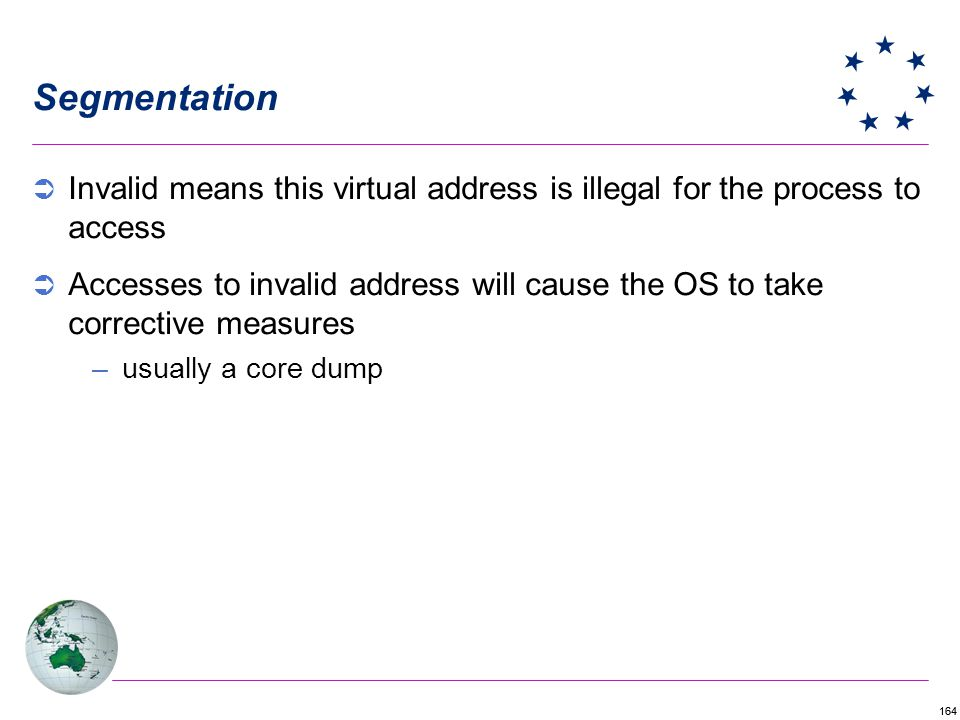 164 Segmentation Invalid means this virtual address is illegal for the process to access Accesses to invalid address will cause the OS to take correct