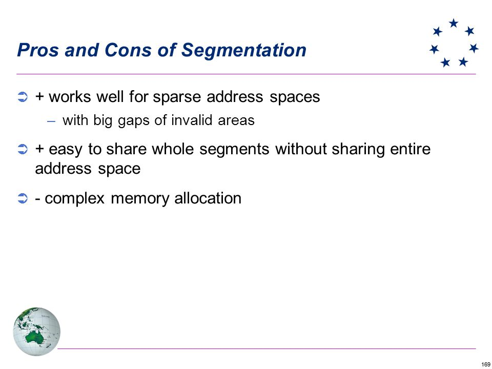 169 Pros and Cons of Segmentation + works well for sparse address spaces –with big gaps of invalid areas + easy to share whole segments without sharin