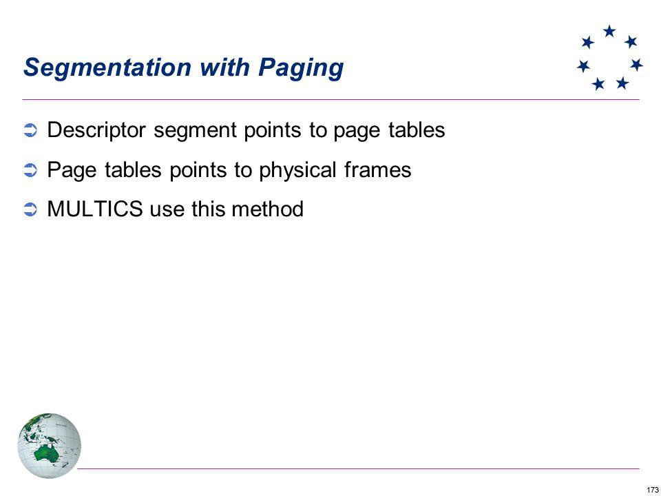 173 Segmentation with Paging Descriptor segment points to page tables Page tables points to physical frames MULTICS use this method