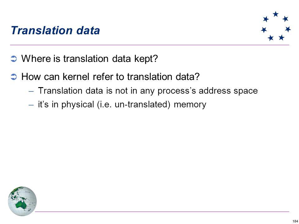 184 Translation data Where is translation data kept.