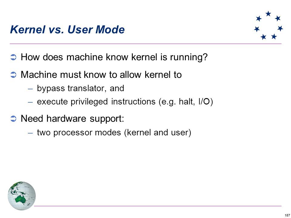 187 Kernel vs.User Mode How does machine know kernel is running.