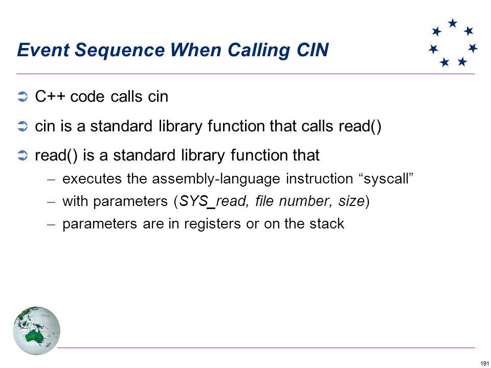 191 Event Sequence When Calling CIN C++ code calls cin cin is a standard library function that calls read() read() is a standard library function that