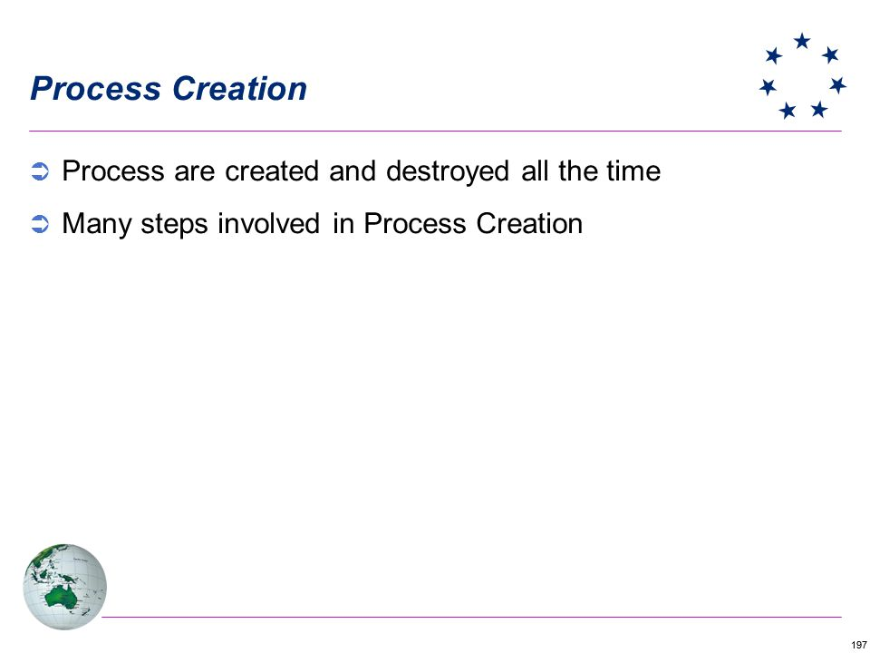 197 Process Creation Process are created and destroyed all the time Many steps involved in Process Creation