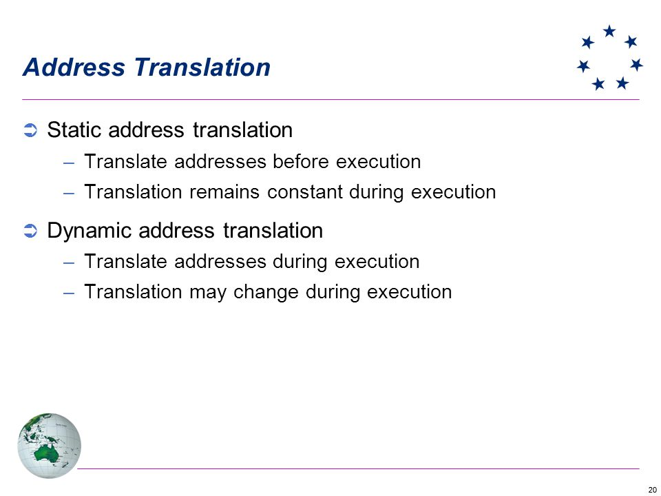 20 Address Translation Static address translation –Translate addresses before execution –Translation remains constant during execution Dynamic address translation –Translate addresses during execution –Translation may change during execution