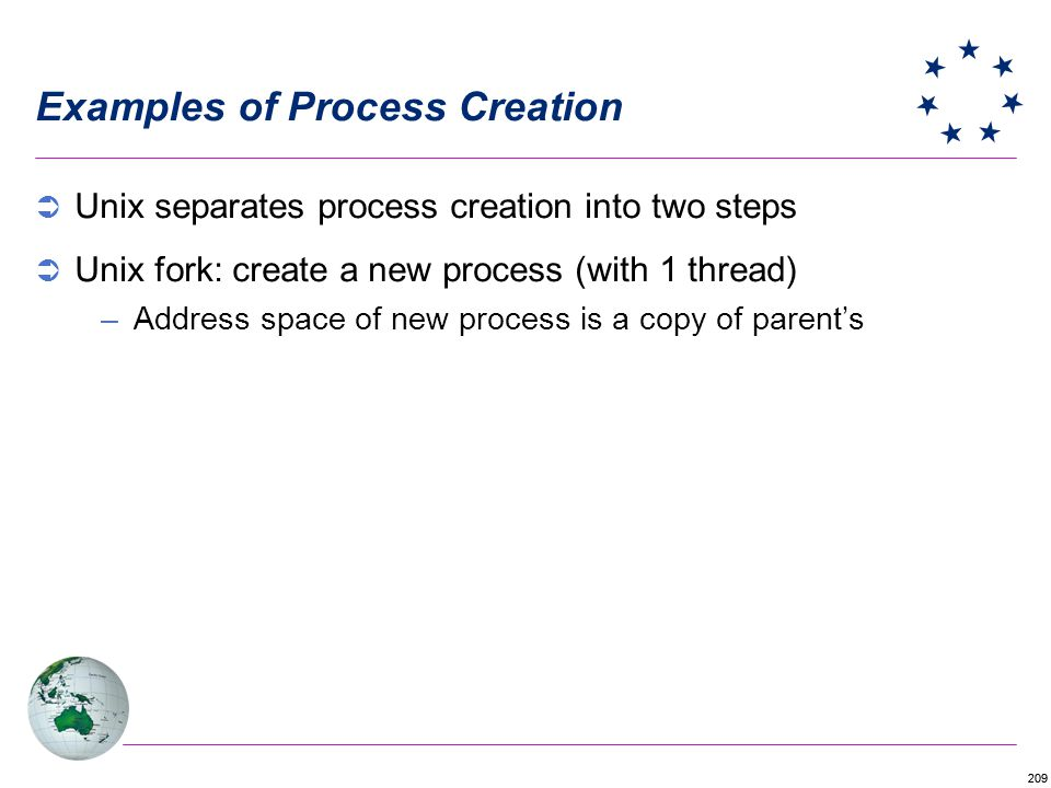 209 Examples of Process Creation Unix separates process creation into two steps Unix fork: create a new process (with 1 thread) –Address space of new process is a copy of parents