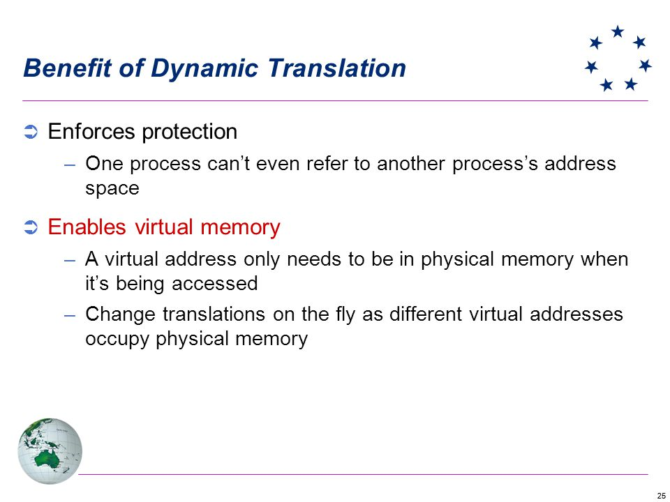 25 Benefit of Dynamic Translation Enforces protection –One process cant even refer to another processs address space Enables virtual memory –A virtual address only needs to be in physical memory when its being accessed –Change translations on the fly as different virtual addresses occupy physical memory