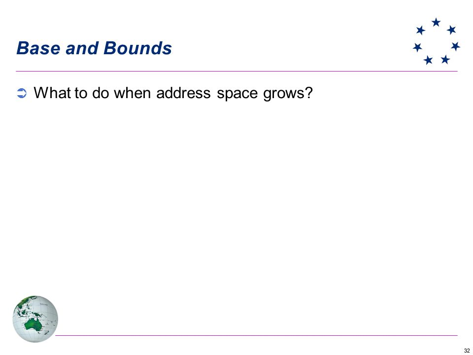 32 Base and Bounds What to do when address space grows?