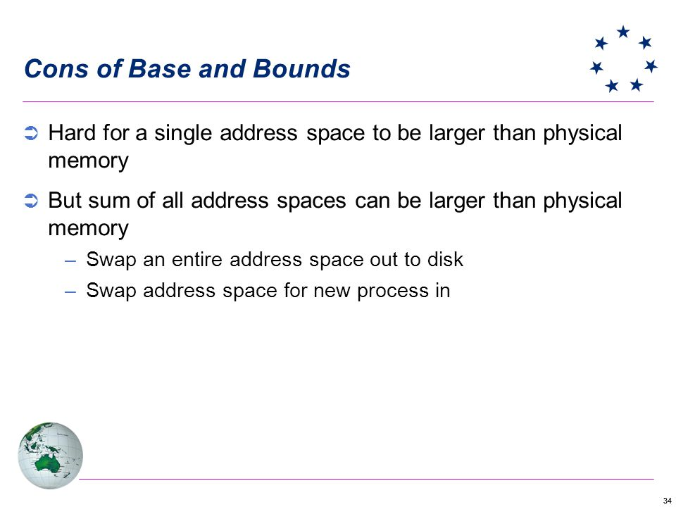 34 Cons of Base and Bounds Hard for a single address space to be larger than physical memory But sum of all address spaces can be larger than physical memory –Swap an entire address space out to disk –Swap address space for new process in