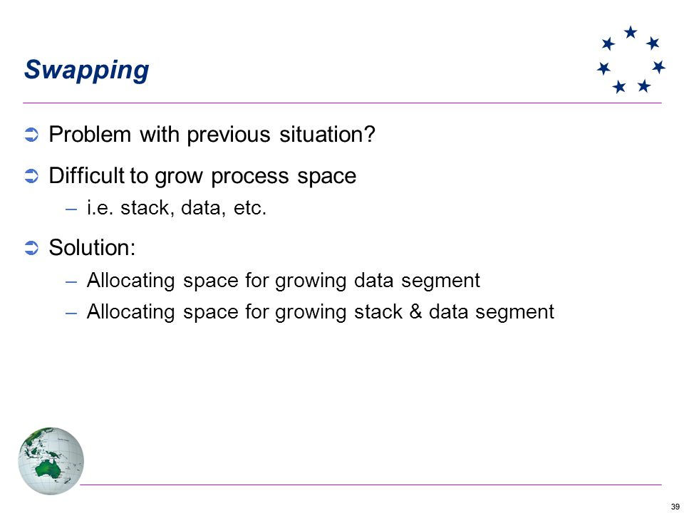 39 Swapping Problem with previous situation? Difficult to grow process space –i.e. stack, data, etc. Solution: –Allocating space for growing data segm