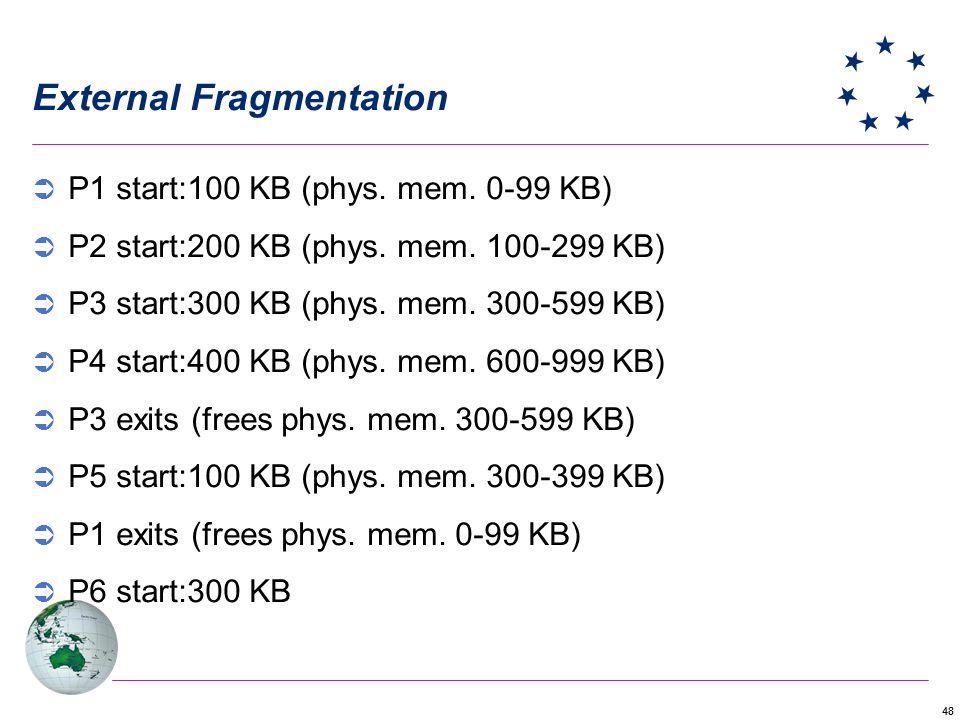48 External Fragmentation P1 start:100 KB (phys. mem. 0-99 KB) P2 start:200 KB (phys. mem. 100-299 KB) P3 start:300 KB (phys. mem. 300-599 KB) P4 star